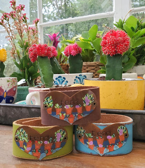 """Flower Pots"" leather cuff (includes ""Tend"" letter and card)"