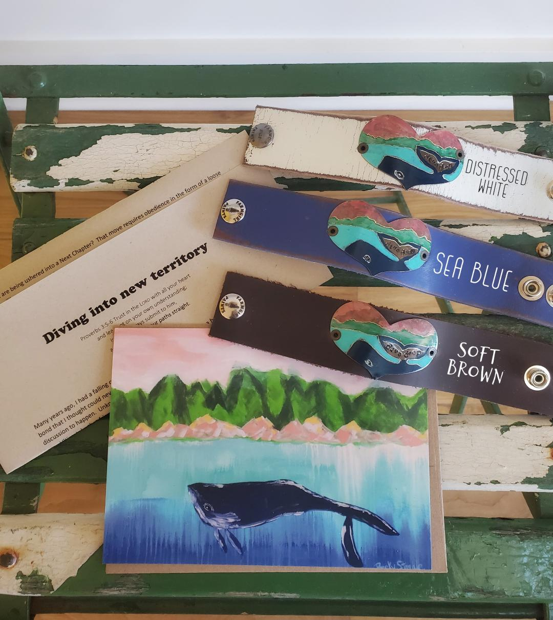"Dive deep whale leather cuff (includes ""Diving into New Territory"" letter and art-card)"