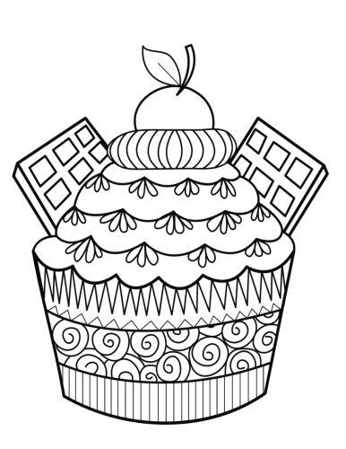 Blank Book Journal: Cupcake Dessert Zentangle Cover Diary Notebook: 8.5 x 11 size 120 gray lined pages!