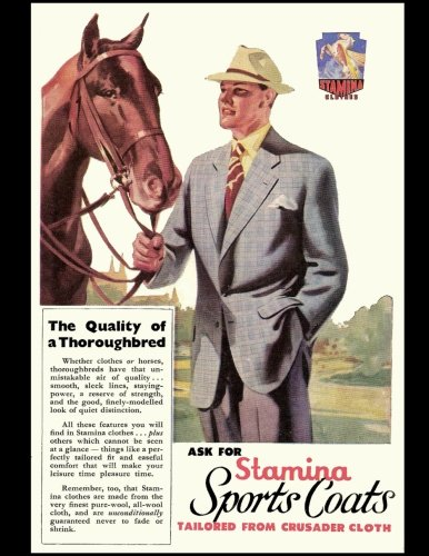 Stamina Sports Coats: Vintage Advertisement Cover On A Daily Planner Journal ~ 365 + Days Bullet Journaling Blank Notebook with sections for date, ... x 11 size, 380 pages + Blank Calendar + Index
