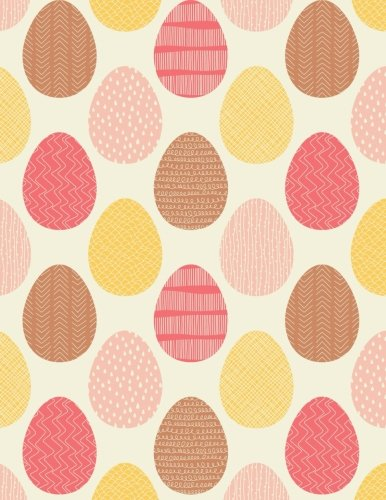 Blank Book Journal: Pink and Orange Pastel Easter Eggs MATTE Cover Notebook: 8.5 x 11 size, 120 gray lined pages, COLLEGE Ruled!