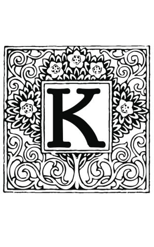 K: Monogram Letter Initial Blank Book Journal ~ 5 x 8 size, 80 Gray Lined Pages, Color the Cover Topiary