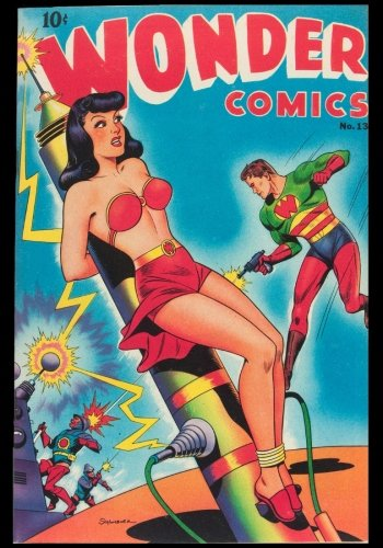 Wonder Comics Number 13: Wonderman in Space-Cold for Conquest Vintage Classic Comic Cover on a Blank Journal Diary ~ 7 x 10 Size ~ 150 Gray Lined Pages ~ COLLEGE Rule