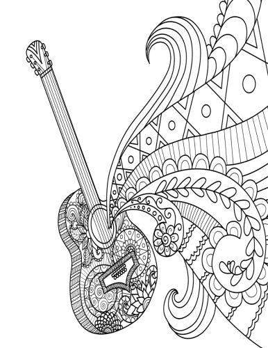 Blank Book Journal: Guitar Zentangle Cover Diary Notebook: 8.5 x 11 size 120 gray lined pages! Color The Cover!