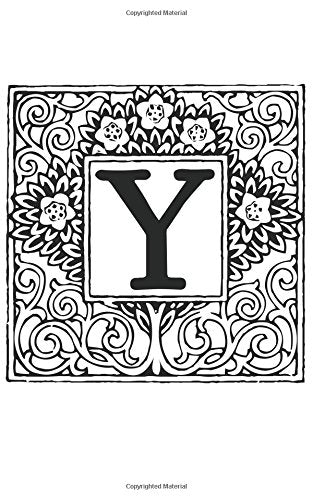 Y: Monogram Letter Initial Blank Book Journal ~ 5 x 8 Pocket Size, 80 Gray Lined Pages, Color the Cover Topiary Garden