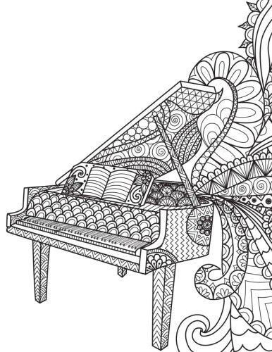 Blank Book Journal: Piano Music Zentangle Cover Diary Notebook: 8.5 x 11 size 120 gray lined pages!