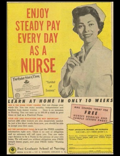 Enjoy Steady Pay Everyday As A Nurse: Vintage Advertisement Cover On A Daily Planner Journal ~ 365 + Days Bullet Journaling Blank Notebook with ... x 11 size, 380 pages + Blank Calendar + Index