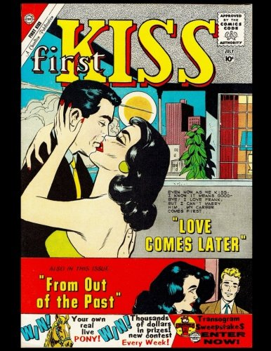 First Kiss: Vintage Comic Book Cover On A Daily Planner Journal ~ 365 + Days Bullet Journaling Blank Notebook with sections for date, time, notes, ... x 11 size, 380 pages + Blank Calendar + Index