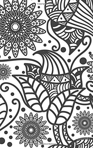 Journal: Blank Notebook Diary Floral Zentangle ~ 5 x 8, 80 pages, COLLEGE Ruled ~ Color the Cover!