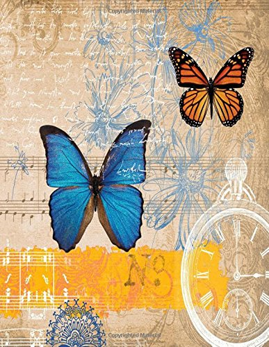 Blank Book Journal: Butterflies and Music Notes MATTE Cover Notebook: 8.5 x 11 size, 120 gray lined pages, WIDE Ruled!