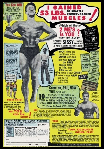 I Gained 53 lbs. of Shapely Power-Packed Muscles: Vintage Classic Advertisement on a Blank Journal Diary ~ 7 x 10 Size ~ 150 Gray Lined Pages ~ COLLEGE Ruled