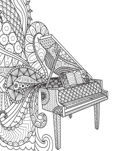 Grid Journal: Zentangle Piano Cover Diary Notebook: 8.5 x 11 size 130 pages