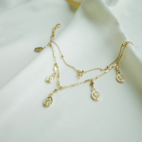 Coin Duster Anklet in Gold