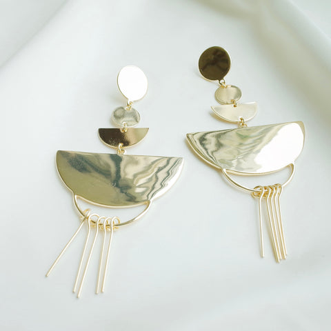 Abstract Earrings in Gold