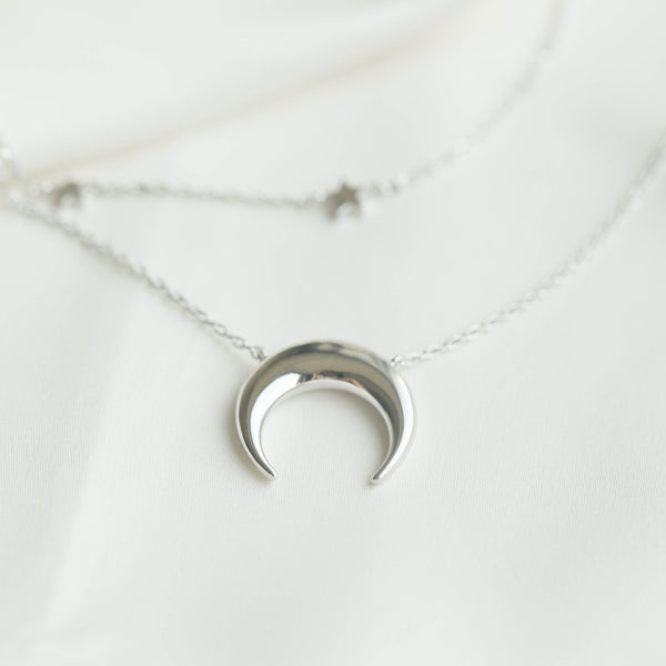 Crescent & Constellation Silver Layered Necklaces