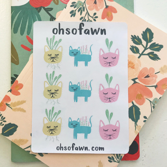 Kitty Plant Stickers