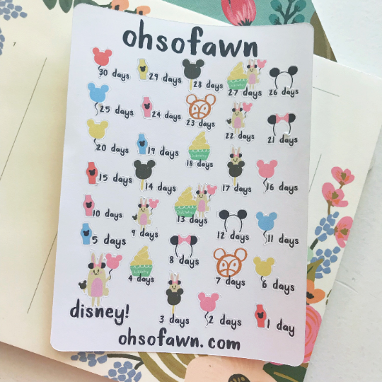 Disney Countdown Stickers