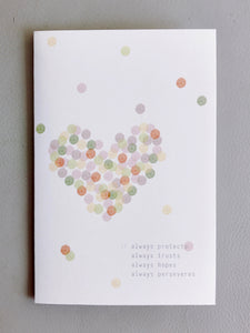 Dotted Love Card (1 Corinthians 13:7) - Our Best Seller!