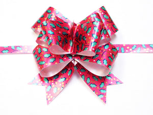 "4 1/2"" Butterfly Kwik Bow Featuring Red Holly Pattern (25 pack)"
