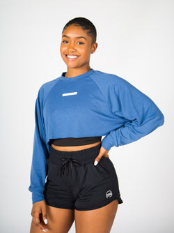 Oversized Cropped Crewneck - Classic Blue