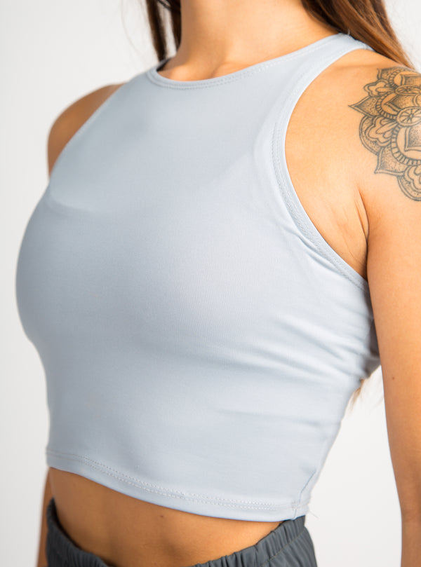 Illusion Crop Top - Light Grey