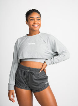 Oversized Cropped Crewneck - Grey