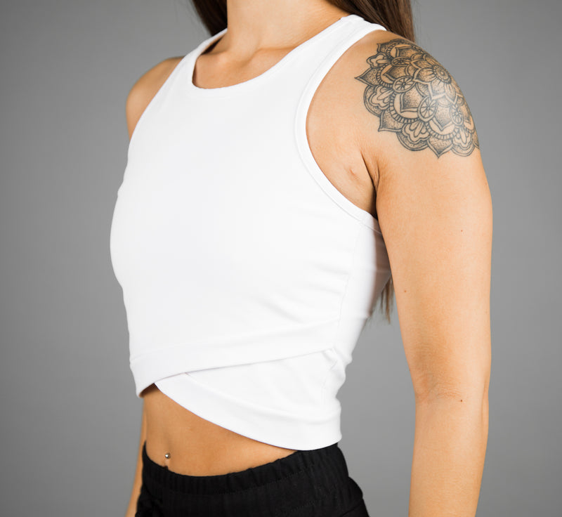 V2 Illusion Crop Top - White
