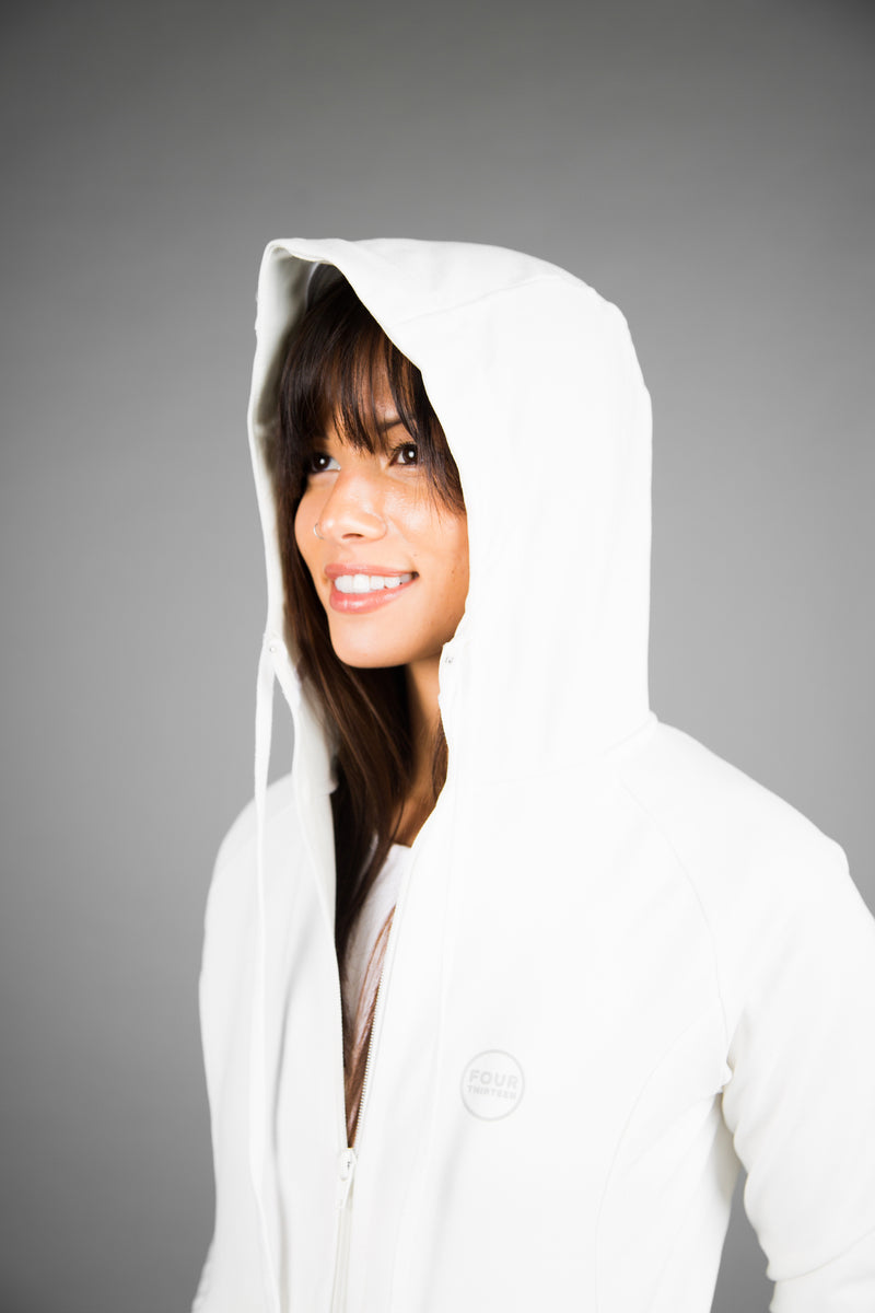 Women's Active Zip Up - White