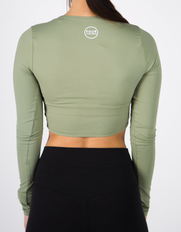Long Sleeve Illusion Crop Top - Sage