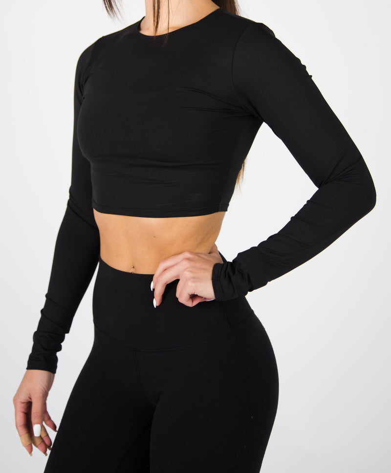 Long Sleeve Illusion Crop Top - Black