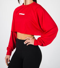 Oversized Cropped Crewneck - Red