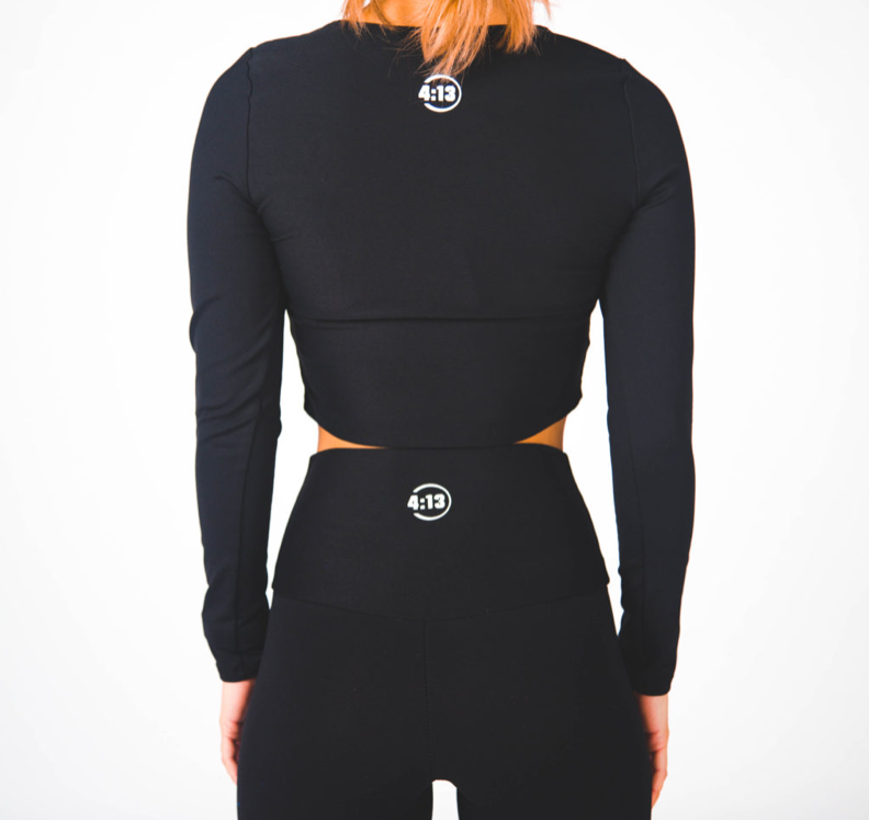 Long Sleeve Illusion Crop: Final Sale Item - Black