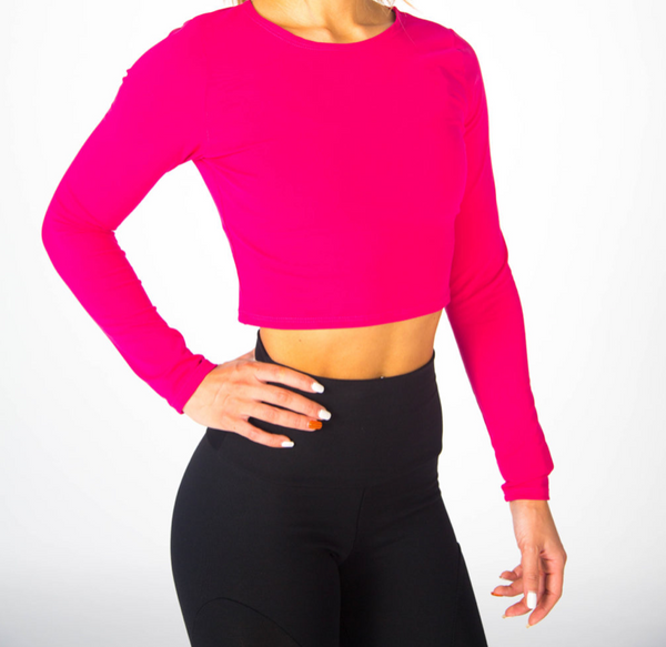 Long Sleeve Illusion Crop: Final Sale Item - Fuchsia