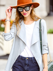 open front irregular hem jacket