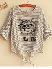hand-drawn cat tie front top