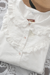 tiered lace doll collar shirt
