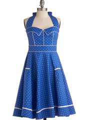 retro polka dots halter dress