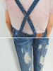 contemporary ripped denim overalls