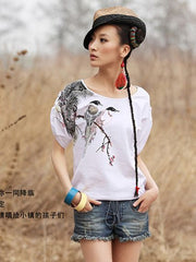 lucky birds Chinese ink shirt