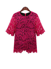 lace top in fuschia