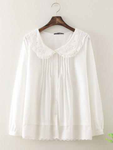 lace crochet long-sleeve cotton shirt