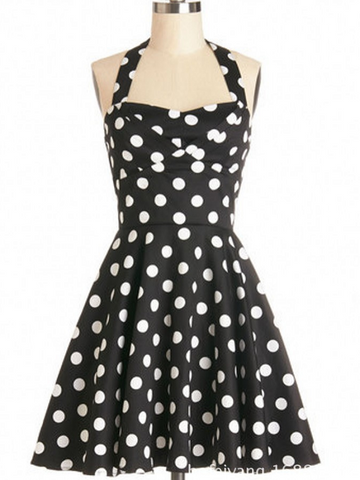 50s polka dots halter dress