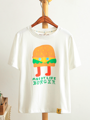 burger man cartoon t-shirt