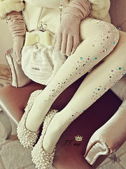 rhinestone studded winter tights in milk white