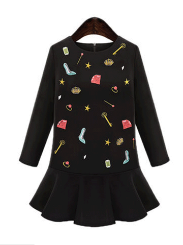 cartoon embroidery flounce dress