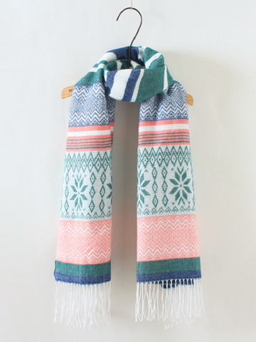 folk style scarf with tassels
