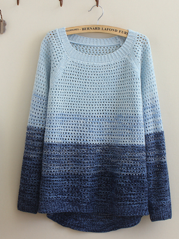 gradient mesh knit sweater