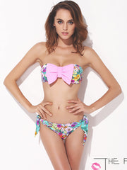 geo flowers bow bikini set (pink)