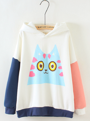 cartoon cat contrast colors hoodie