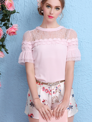 rose love chiffon lace top